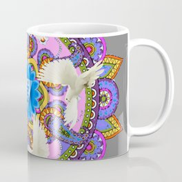 BLUE CHAKRA MANDALA WITH WHITE DOVES& PURPLE-GREY ART Coffee Mug