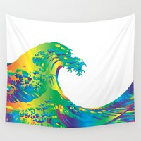 hokusai Wall Tapestries featuring Hokusai Rainbow_A by FACTORIE