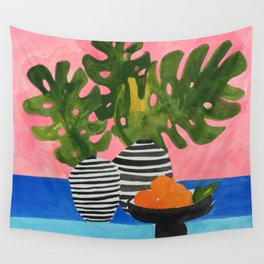 Pink Wall Monstera Wall Tapestry