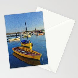 Yellow fishing boat, Santa Luzia, Portugal Stationery Cards