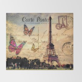 Vintage Paris-Carte Postale Throw Blanket