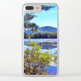 Shawnee Peak from Moose Pond in Maine (4) Clear iPhone Case