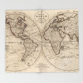 Old world map throw blankets society6 old fashioned world map 1795 throw blanket gumiabroncs Gallery