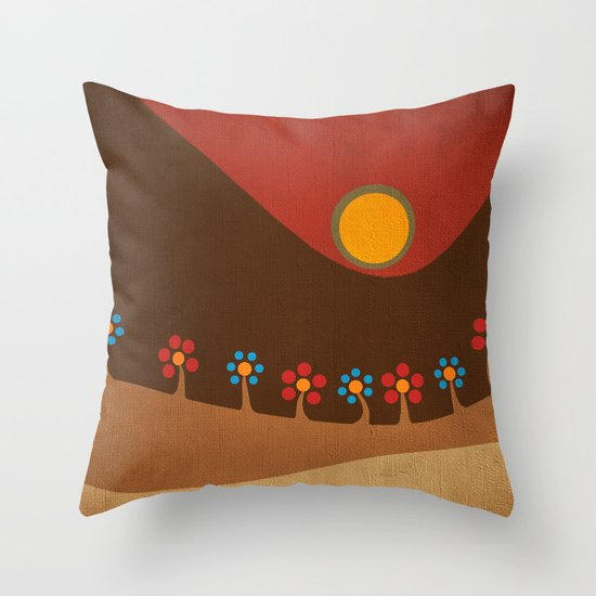 Circular landscape & flowers Throw Pillow