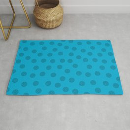 Dots With Points Blue Rug
