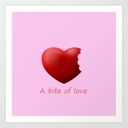 a bite of love (nibbled heart) pink Art Print