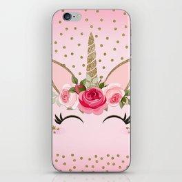 Pink & Gold Cute Floral Unicorn iPhone Skin