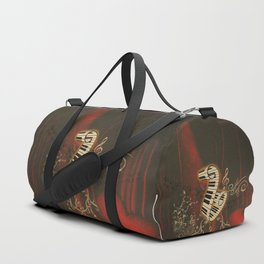 Music, piano with clef and key notes, Duffle Bag