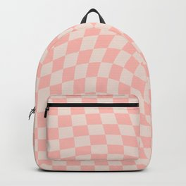 Check VII - Pink Twist — Checkerboard Print Backpack