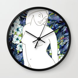 Nude with blue flowers Wall Clock