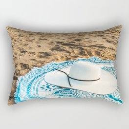 Travel Photography, White Beach Hat, Summer Vacation, Holiday Time, Beauty Accessories, Ocean Decor Rectangular Pillow