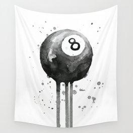 8-Ball Watercolor Black Pool Billiards Eight Ball Art Wall Tapestry