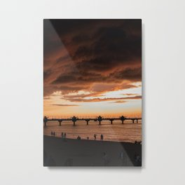 SILHOUETTE OF PEOPLE ON BEACH DURING SUNSET Metal Print