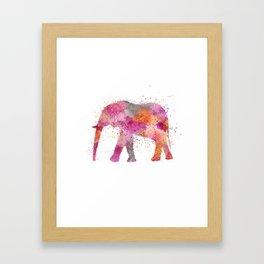 Artsy watercolor Elephant bright orange pink colors Framed Art Print