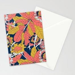 Limited Color Palette Bold Jungle Leaf Floral Stationery Cards