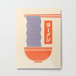 Ramen Japanese Food Noodle Bowl Chopsticks - Cream Metal Print