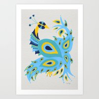 peacock Art Prints featuring Peacock by Cat Coquillette