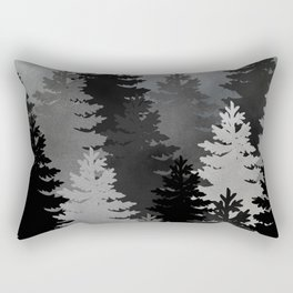 Pine Trees Black and White Rectangular Pillow