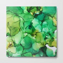 Tropical Green Fluid Art Metal Print