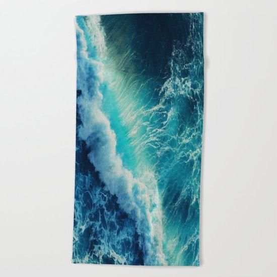 Waving Blue Beach Towel