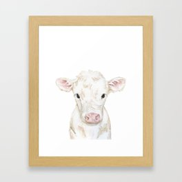 Baby White Cow Calf Watercolor Farm Animal Framed Art Print