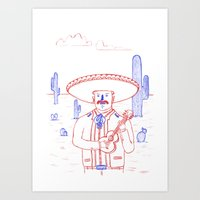 Mariachi in the Desert Art Print