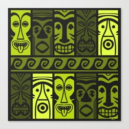 Keen Green Tikis! Canvas Print