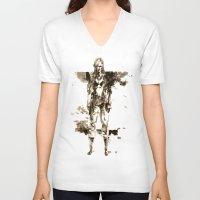 metal gear V-neck T-shirts featuring Metal Gear Solid wolf by Hisham Al Riyami