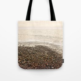 Dungeness Shoreline, Pebble Beach, Washington Seascape, Juan de Fuca, Coastal Photography Tote Bag