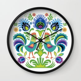 Polish Folk Design Two Roosters Wall Clock