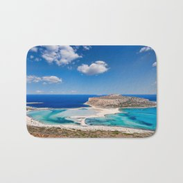The unbelievable beauty of Balos Lagoon with Cap Tigani in Crete, Greece Bath Mat