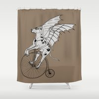 steam punk Shower Curtains featuring Steam Punk Great Dane by Rebecca Pocai