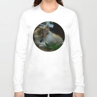 nicolas cage Long Sleeve T-shirts featuring Nicolas Cage Cat Wants Nip by HiddenStash Art
