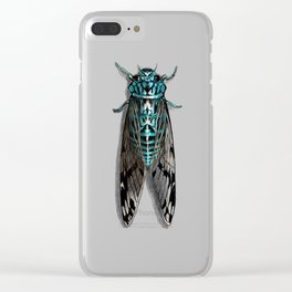 Turquoise Cicada Clear iPhone Case