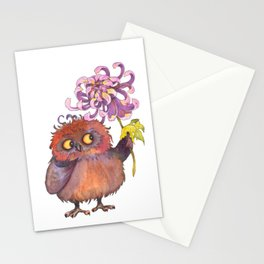 Owl with chrysanthemum Stationery Cards