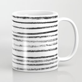 Black Brush Lines on White Coffee Mug