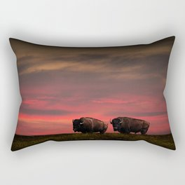 Two American Buffalo Bison at Sunset Rectangular Pillow