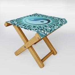 Tranquility Yin Yang Blue Aqua Mandala Folding Stool