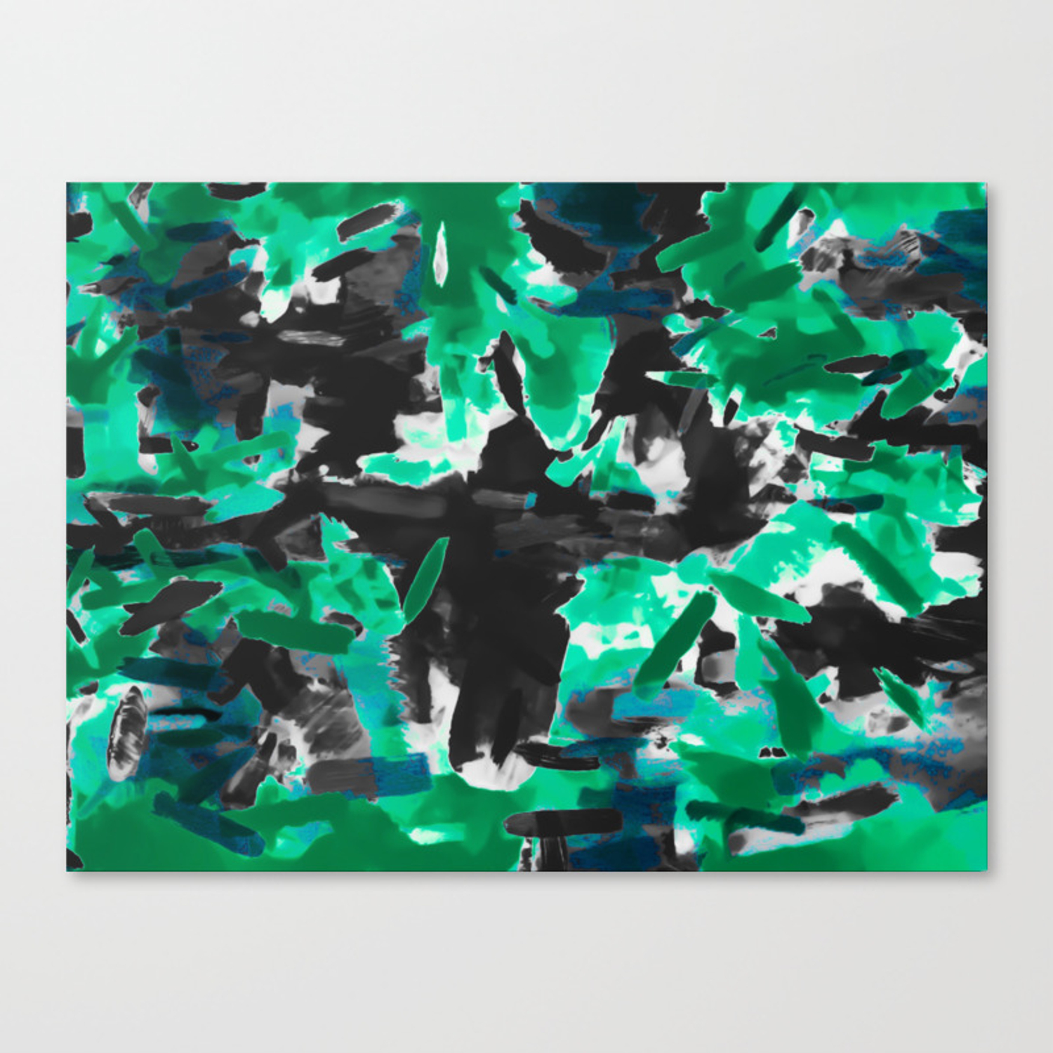 Psychedelic vintage camouflage painting texture abstract in green and black canvas print by timla society6