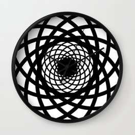 Rectangles round geometric circle pattern Design white Wall Clock