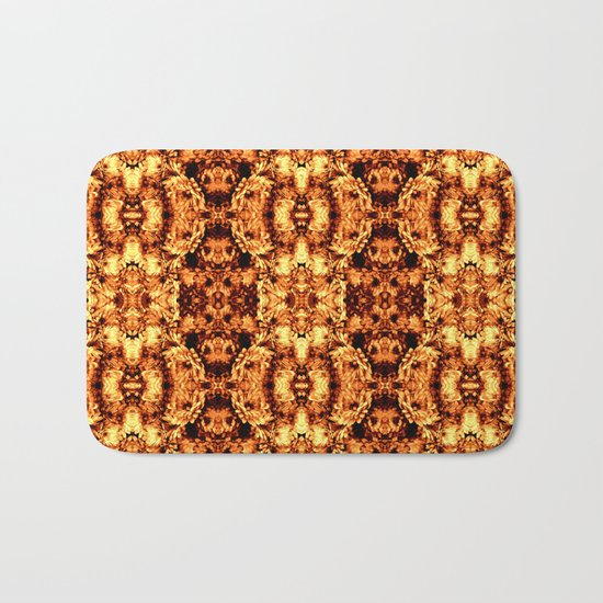 Brown Yellow  Flower Pattern Bath Mat