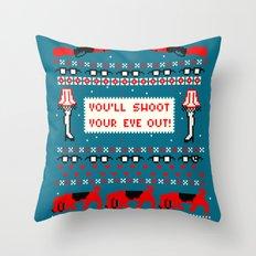 A Christmas Sweater (Blue) Throw Pillow