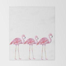 Flamingo - Pink Bird - Animal On White Background Throw Blanket