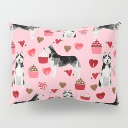 Husky Siberian Huskies dog breed valentines day love pattern print by pet friendly for dog person Pillow Sham