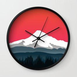 Mount Hood Winter Forest - Sunset Wall Clock