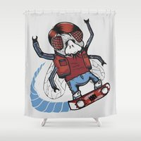 marty mcfly Shower Curtains featuring Marty McFLY by Timo Ambo