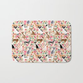 Chihuahua florals cute pastel dog breed must have gifts for small dog owner dog person pet portraits Bath Mat