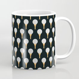 Golf Ball & Tee Pattern (Black) Coffee Mug