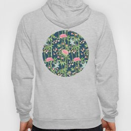 Bamboo, Birds and Blossom - dark teal Hoody