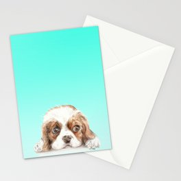 Cavalier King Charles Spaniel Dog Watercolor Pet Portrait Stationery Cards